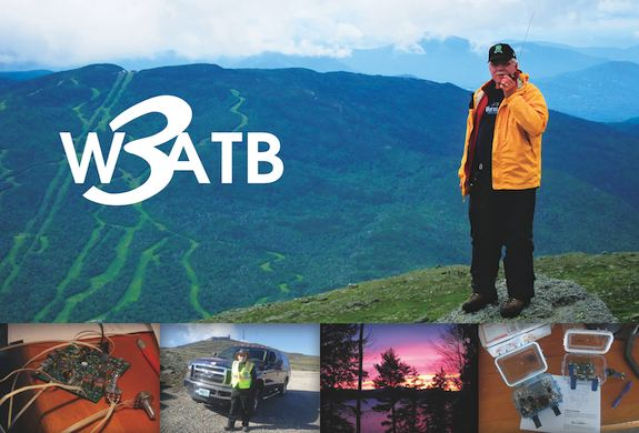 Here's the front of my QSL card. I was standing on the side of Mt. Washington working the Climb to the Clouds Auto Race in 2011.