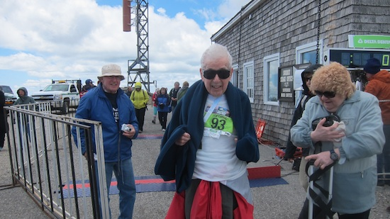Here's Joe Etzweiler moments after crossing the finish line. Photo credit: Tim Carter, 2013