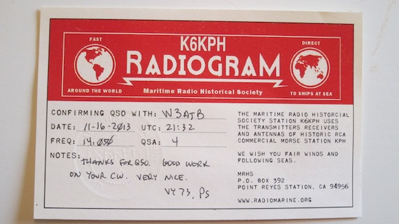 This is the official QSL card from K6KPH confirming my QSO. It was very exciting to see it in the mail!