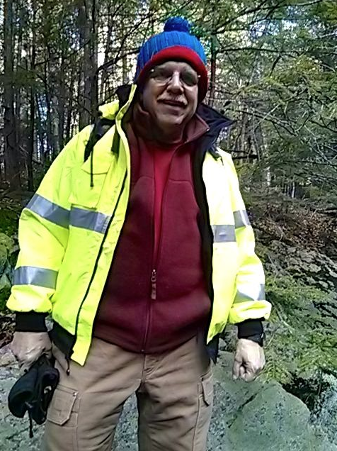 The jacket is much brighter than it appears here. Hiking in the brisk weather was invigorating. Photo credit: Jim Cluett, W1PID