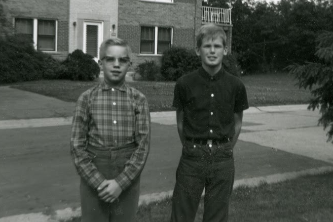 That geek on the left is me. Roger is on the right. We're standing in my front yard in a middle class neighborhood in Cincinnati, OH.
