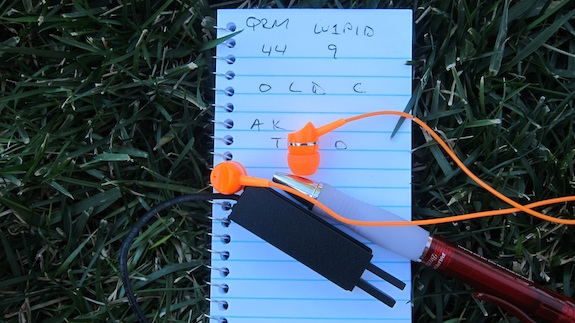Here's my small log book with the contents of the short QSO. You can see the small Pico paddles too. Photo Credit: Tim Carter 2014