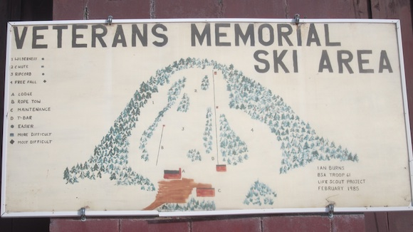 This is a great little map hanging on the outside wall of the base lodge - the only lodge! - at the ski area. Our repeater is in a little shed at the top of the hill. Photo credit: Tim Carter, W3ATB
