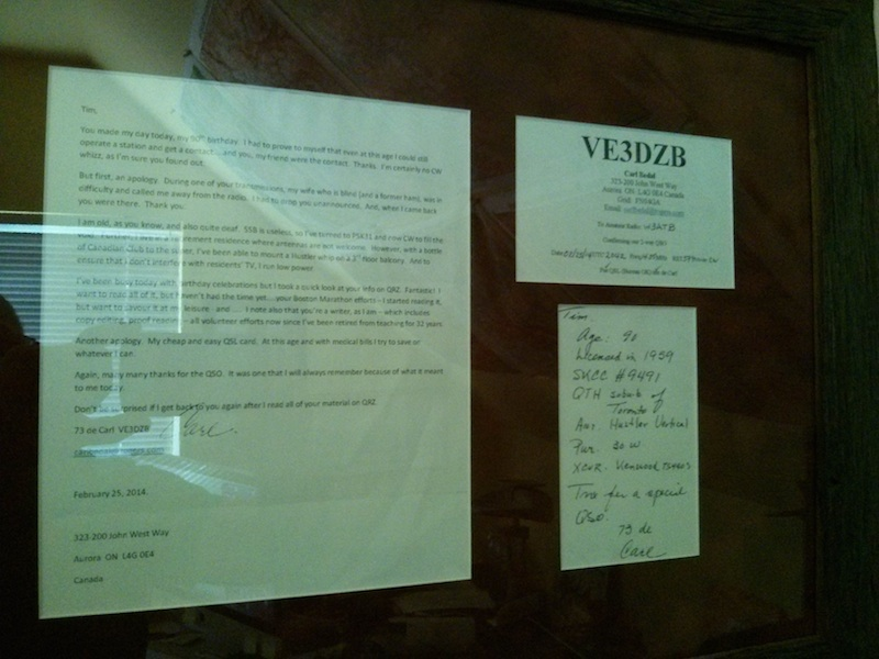 This is Carl's letter and QSL card. It hangs in a place of honor in my shack. Photo credit: Tim Carter