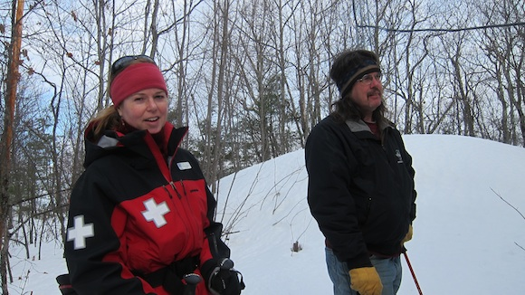 It looks far colder than it was. Ellen Coulter and her husband Dave were very cordial and didn't run us off the hill. Photo credit: Tim Carter, W3ATB