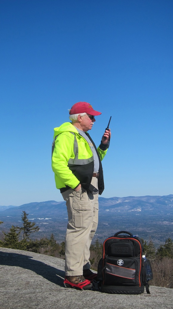 Here I am talking with one of my SOTA chasers. Those are the operators on the ground or other summits you connect with. Photo credit: Cliff Dickinson - N1RCQ