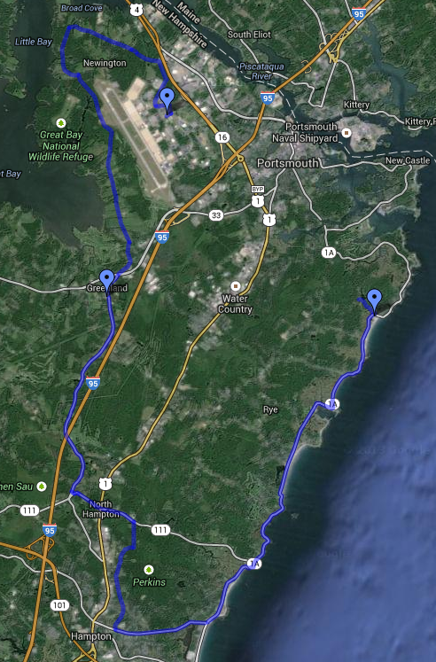 Here is the first part of the 55-mile route from Portsmouth, NH to Ongunquit, ME. Image credit: Google Maps