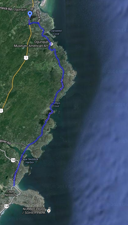 This is the final stretch of the 2014 Breathe NH 55-mile long course from Portsmouth, NH to Ogunquit, ME. Image credit: Google Maps