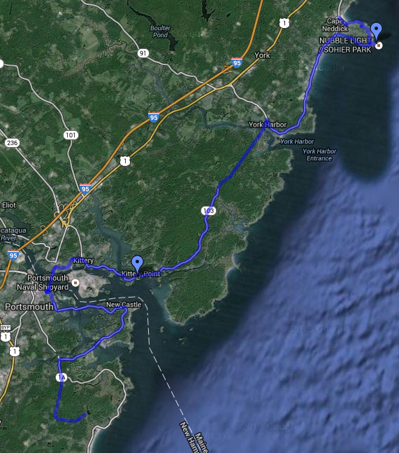 Here's the second leg of the 55-mile bike trip from Portsmouth, NH to Ogunquite, ME. Image credit: Google Maps