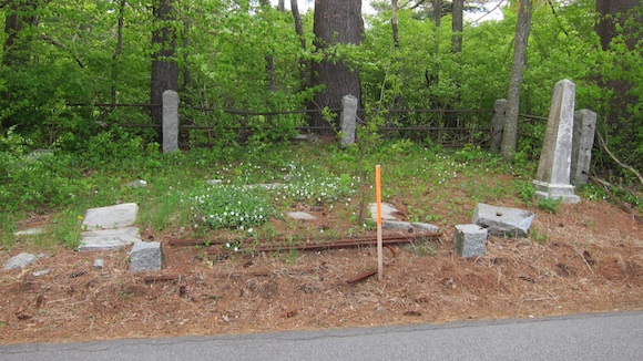 Here's a very small cemetery just feet from the edge of the country road. Stout granite posts have been cracked off by cars or snowplows. Photo credit: Tim Carter - W3ATB
