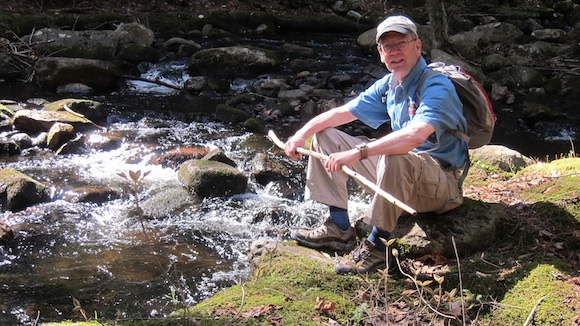 The look on Jim's face says it all. He loves everything about Knox Brook. Photo credit: Tim Carter - W3ATB