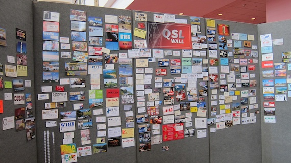 Here's a nice wall people could post their QSL cards and business cards. My QSL card is right there in the middle. Look closely. Photo credit: Tim Carter - W3ATB