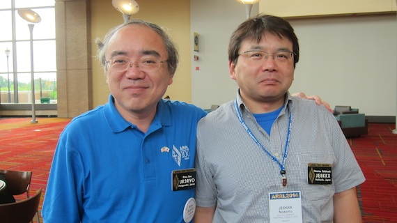 Ritsu is on the left and Nozumu is on the right. Two very polite men. Photo credit: Tim Carter - W3ATB