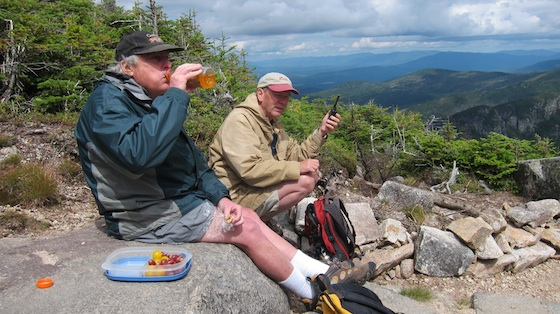 Dick, N1LT, satisfying his thirst while Jim was satisfying his insatiable appetite for QSOs of any type, anytime, anywhere. Photo credit: Tim Carter - W3ATB