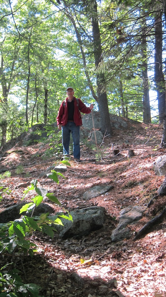 Here's Jim near the top of the trail. The Ledges is just behind him about 300 feet away. Photo credit: Tim Carter - W3ATB