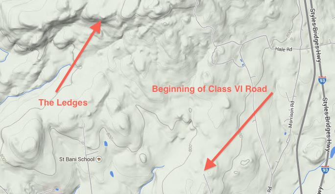 The Ledges was created by a giant continental glacier that rode over Mt. Hersey just to the north. The glacier was flowing from the northwest and the south and southeast face of most mountains in New Hampshire is much steeper because the glacier plucked rocks from this face and carried them away. Image credit: Google Maps