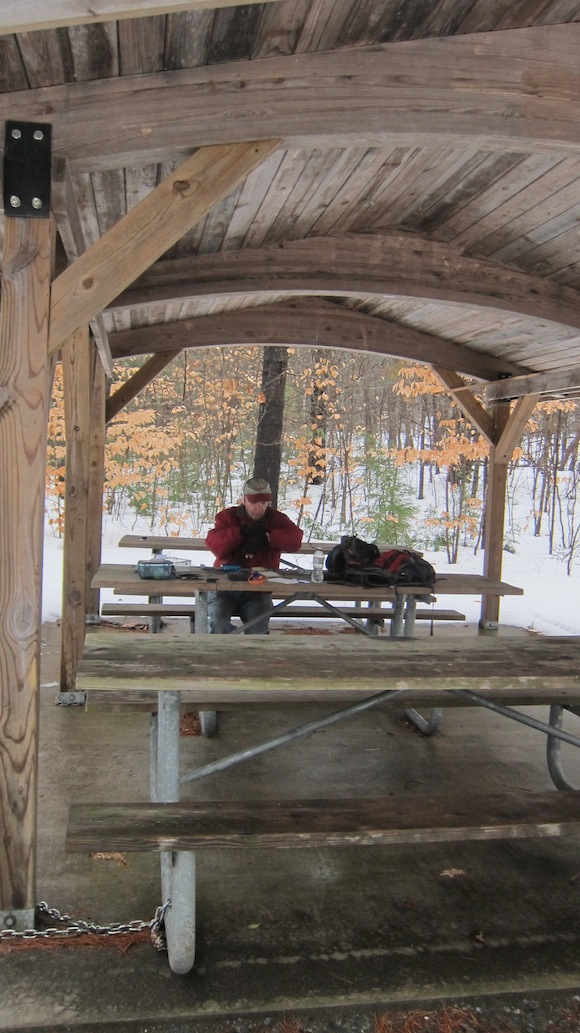 Here's Jim inside the shelter. The only thing missing was a nice fireplace! Photo credit: Tim Carter - W3ATB