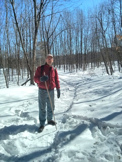 Here's Jim on the trail. If you stray from the path, you post hole down into the snow up past your knee! Photo credit: Tim Carter - W3ATB