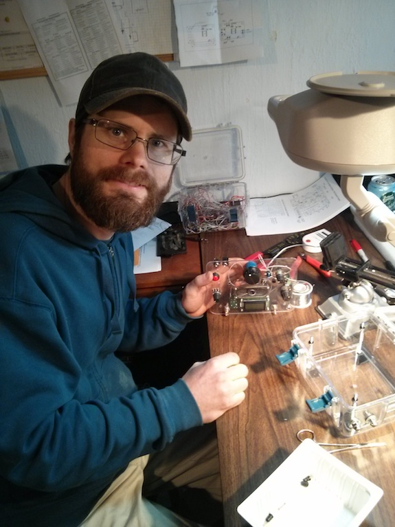 Here is Hanz working on the control panel. He's a wizard and his attention to detail is stellar. CLICK this photo to see Hanz's radios! Photo credit: Tim Carter - W3ATB