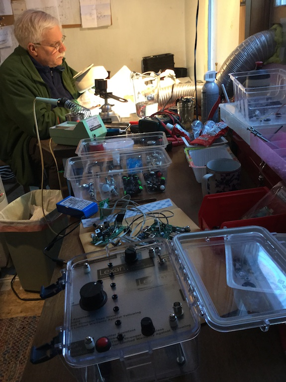 Here I am at Hanz's great workshop soldering away. I sure enjoy putting together these circuit boards! Photo credit: Hanz Busch - W1JSB
