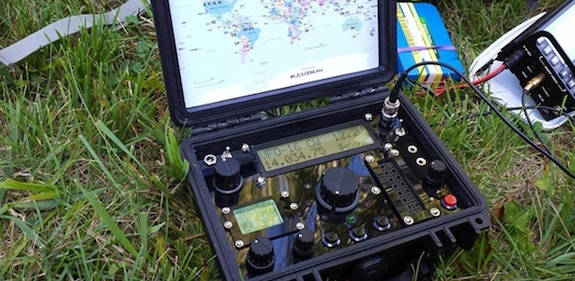 This is a quad-band QRP radio in a waterproof Pelican  box. CLICK the image to discover MORE. Photo credit: Hanz Busch - W1JSB