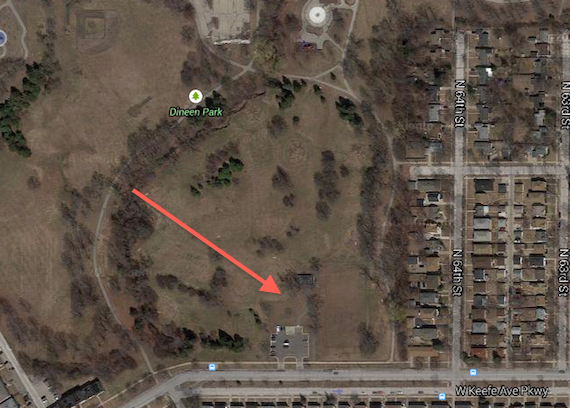 Here's Dineen Park. I was operating under a large tree next to the locked restroom bu