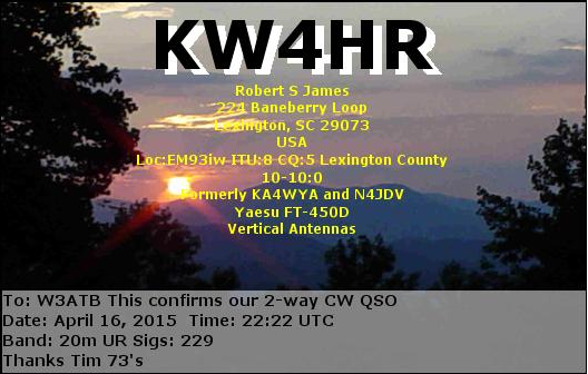Here's the electronic QSL card Rob sent me after the QSO.