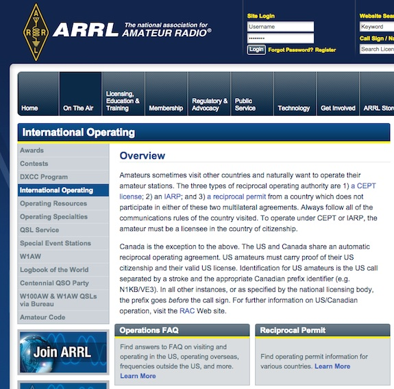 This is the section at the ARRL website that deals with International Operating. It's rich in facts and information. Image credit: ARRL.org