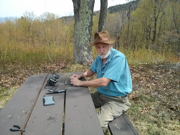 Here's Dave Benson - K1SWL. I caught him with his eyes closed, he's not sleeping though. He's busy adding another entry to his massive log. Photo credit: Tim Carter - W3ATB