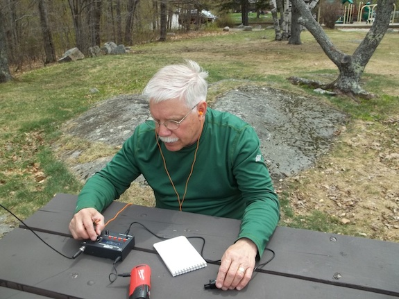 Here I am with my trusty HB-1B working 20 meters. Photo credit: Dave Benson - K1SWL