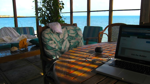 This is inside the screened porch looking out. You can see there on the left my unmade bed. Life is hard in Antigua.