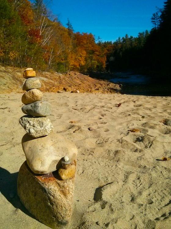 Livermore Falls Beach rock cairn