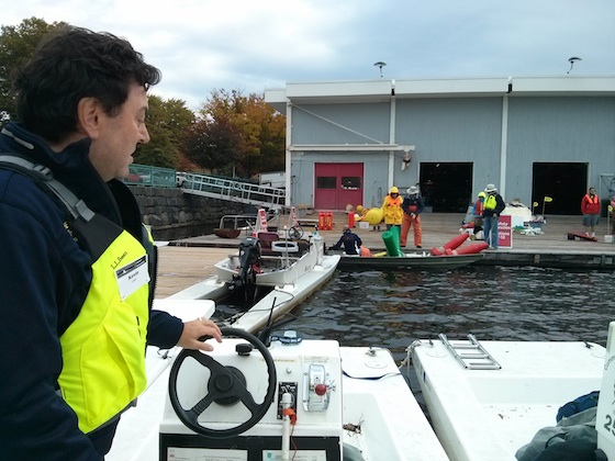 Here's Kevin checking out the launch controls before we left the dock. Photo credit: Tim Carter - W3ATB