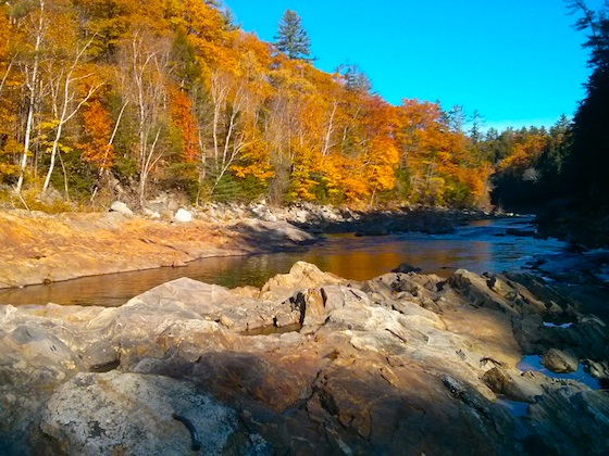 This is the Pemigewasset River just before it dives down the falls. You can see the first step in the falls in the lower right corner.