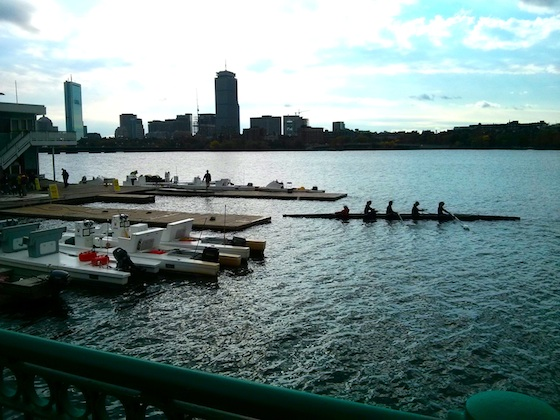 You can see a few of the odd open pontoon boats docked here at the MIT boathouse. A crew is pulling into the dock from an early practice on the water. Photo credit: Tim Carter - W3ATB