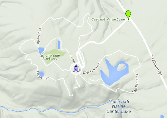 The Cincinnati Nature Center is big. Some of the trails go down into the valleys you see here. Image credit: Google Maps