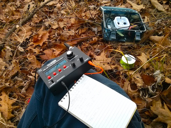 Most everything I need to operate fits inside the small clear waterproof Outdoor Products plastic box. Photo credit: Tim Carter - W3ATB