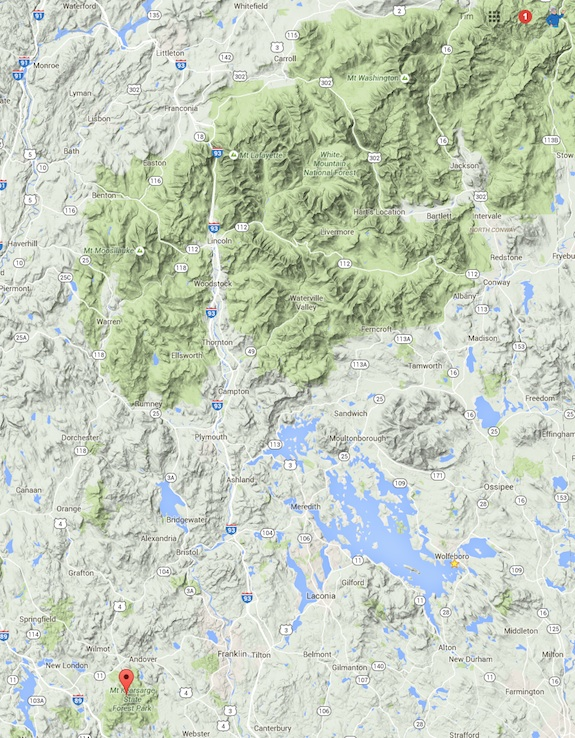 The red ballon shows Mt. Kearsarge in the lower left corner. That green patch of hills, well that's the famous White Mountains of New Hampshire. Image credit: Google Maps