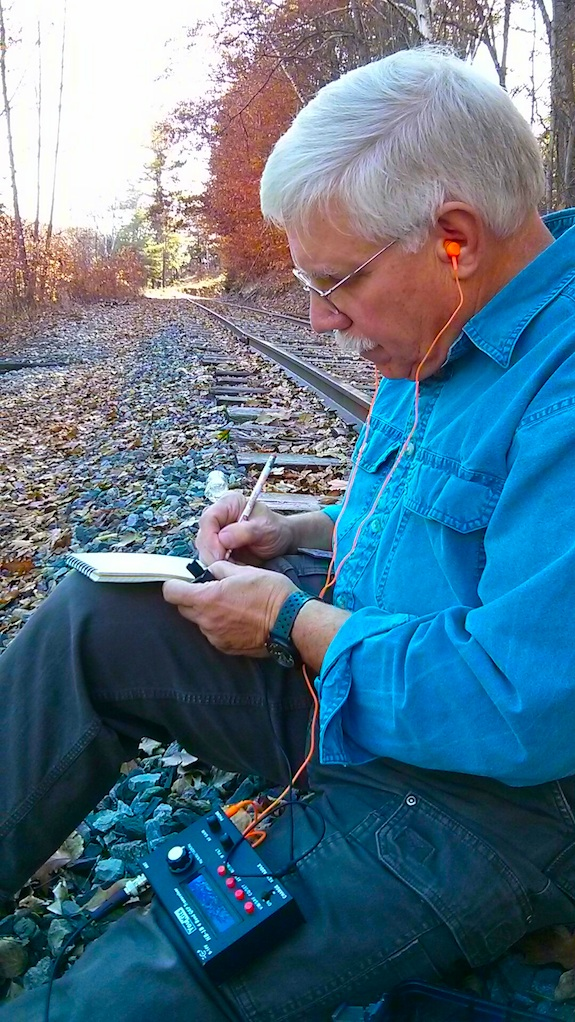 Here I am copying the QSO from W4LYH. Photo credit: Jim Cluett - W1PID