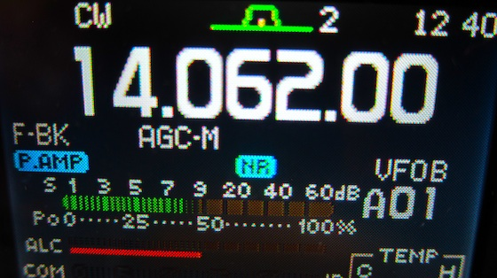 See the green lines and where they stop between the 7 and the 9? That means the signal strength is an 8. Photo credit: Tim Carter - W3ATB