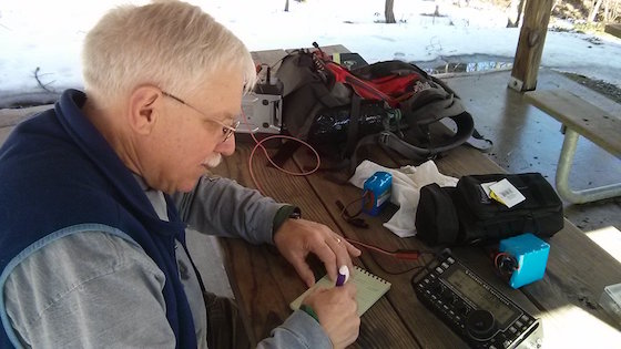 Here I am copying what N3AO is sending. Photo credit: Jim Cluett - W1PID