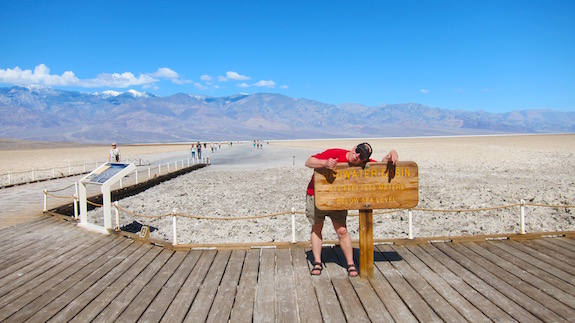 I'm at BadWater Basin - the lowest spot in the USA. Kelly and I walked out about 3/4 mile out onto the salt flat behind me. Don't tell anyone how beautiful Death Valley is. Talk up all the scorpions and rattlesnakes. Photo credit: Kelly Carter