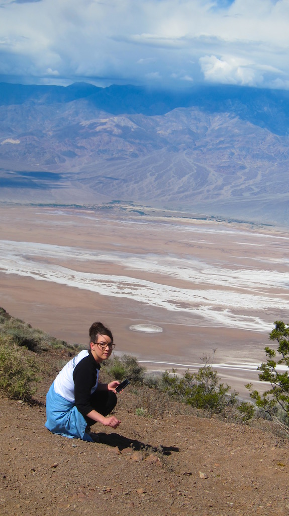 Here's my youngest daughter admiring a flower from the Dante's View high above Badwater Basin several thousand feet below. Photo credit: Tim Carter - W3ATB