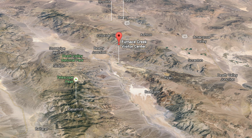 Here's a 3D shot of Death Valley National Park and the surrounding desolate desert in southeastern California. Image credit: Google Maps (C) 2016