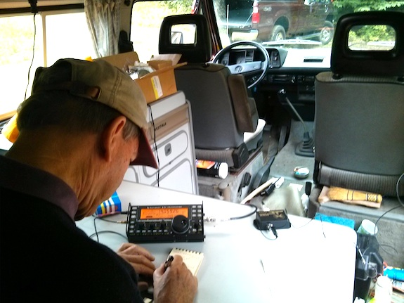 Here's Jim logging a contact late in the contest. We were sitting in his cool VW vanagon that he uses as his roving RF station. It's got enormous good karma and patina. Photo: Tim Carter - W3ATB