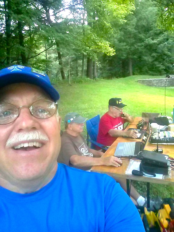 Barry and Frank are on the air! The weather was grand and we got a small sprinkle of rain just before we were going to go home. Photo Selfie credit: Tim Carter - W3ATB