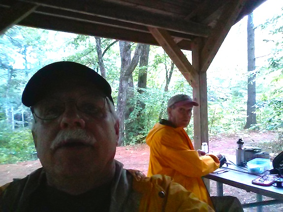 Here's a dark selfie taken inside the Profile Falls shelter. Rain was threatening. Photo: Tim Carter - W3ATB