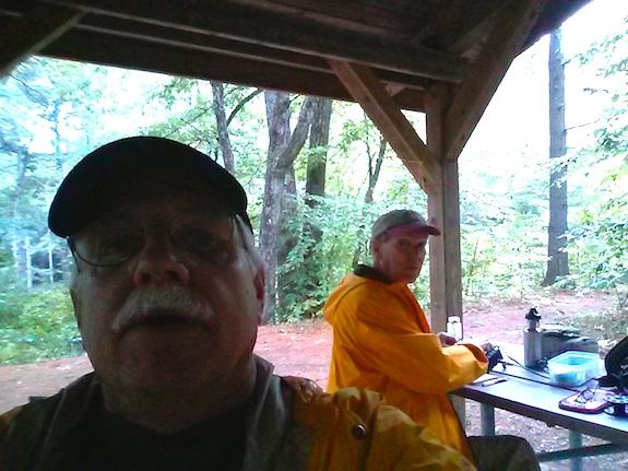 Here's a dark selfie taken inside the Profile Falls shelter. Rain was threatening. Photo: Tim Carter - W3ATB