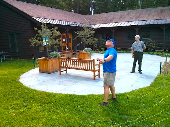 Ranger Paul is patiently watching as I try not to damage NPS property. Photo credit: Barry Green - W1JFK