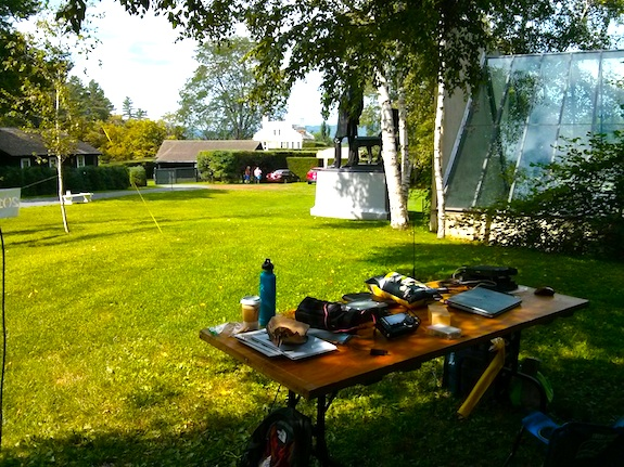 This is our setup with the view towards the mansion. The visitor center is just to the left of the operating table. Photo credit: Tim Carter - W3ATB